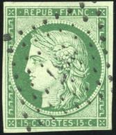 O 2b -  15c. Vert Foncé. Obl. PC 367. TB. - 1849-1850 Ceres