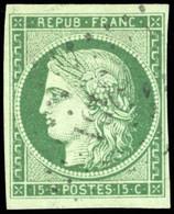 O 2b -  15c. Vert-foncé. Obl. Légère PC 3431. SUP. - 1849-1850 Ceres