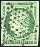 O 2b -  15c. Vert Foncé. Obl. étoile. SUP. - 1849-1850 Ceres