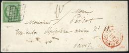 O 2 -  15c. Vert Obl. Grille Arrondie De Paris + Cachet Rouge ''P.P. Du Bureau G'' S/lettre Locale à Destination De PARI - 1849-1850 Ceres