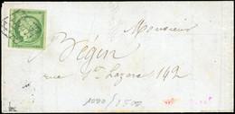 O 2 -  15c. Vert Obl. Sur Lettre. Timbre Décollé Pour Vérifier La Qualité. TB. - 1849-1850 Ceres