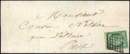 O 2 -  15c. Vert Obl. Grille S/lettre Locale Manuscrite De PARIS Du 9 Décembre 1851. Arrivée Le 10 Décembre. Timbre Avec - 1849-1850 Ceres