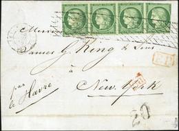 O 2 -  15c. Vert, Bande De 4 Obl. Grille Sans Fin S/lettre Frappée Du CàD De Paris Du 23 Juillet 1852 à Destination De N - 1849-1850 Ceres
