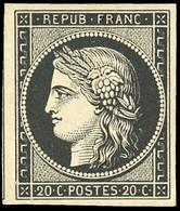 (*) 3 -  Essai Du 20c. Noir Intense. Pièce De Rêve. SUP. - 1849-1850 Ceres
