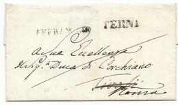DA TERNI A TIVOLI - 13.8.1837 - RISPEDITA A ROMA. - 1. ...-1850 Prephilately
