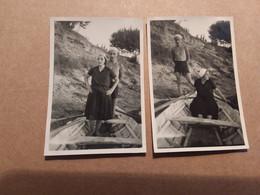 BAGNANTI SUL FIUME PO   IN COSTUME E CON BARCA A REMI  2 FOTOGRAFIE   FORMATO  4,5 X 7 CM  ANNI '50 - Persone Anonimi