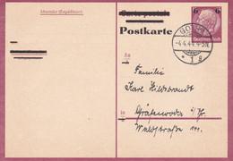 Entier Occupation Belgique Gotha 04.04.1944 - Postwaardestukken