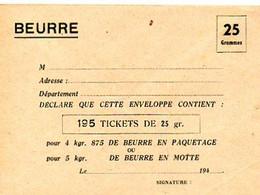 E 9 1940/50  Enveloppe Neuve Pour Tickets De Beurre  (restrictions) - Guerra De 1939-45