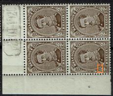 136A Bloc 4  ** Bdf  Dépôt 1920  T 3  LV 24  Trait Sur 2 - Variedades (Catálogo Luppi)