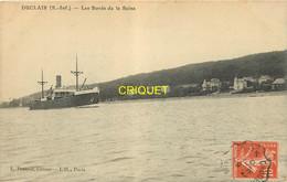 76 Duclair, Bords De Seine, Cargo En Avant..., Affranchie Ambulant Caudebec à Rouen 1910 - Duclair