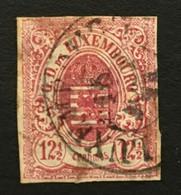 LUXEMBOURG 1859 Mi 7 OBL  - 12 1/2 Centimes Rose Rouge - 4 Marges - Bon état - 1859-1880 Wapenschild