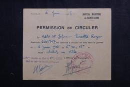 VIEUX PAPIERS - Permission De Circuler D'un Matelot En 1948 De Toulon - L 73396 - Documentos