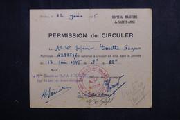 VIEUX PAPIERS - Permission De Circuler D'un Matelot En 1948 De Toulon - L 73397 - Documentos