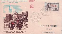 ALGERIE - BENI-ABBES - SAOURA - LE 1-2-1959 - FDC CHARLES DE FOUCAULTD A DESTINATION DE COLOMB BECHAR. - FDC