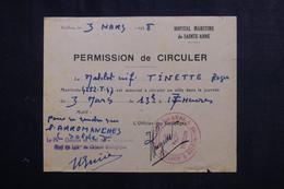 VIEUX PAPIERS - Permission De Circuler D'un Matelot En 1948 De Toulon - L 73398 - Documentos