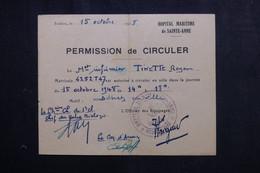 VIEUX PAPIERS - Permission De Circuler D'un Matelot En 1948 De Toulon - L 73399 - Documentos