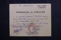 VIEUX PAPIERS - Permission De Circuler D'un Matelot En 1948 De Toulon - L 73400 - Documentos