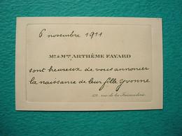 Faire-part Naissance Yvonne Arthème FAYARD 1911 - Nacimiento & Bautizo