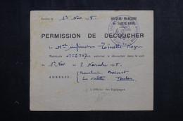 VIEUX PAPIERS - Permission De Découcher D'un Matelot En 1948 De Toulon - L 73401 - Documentos