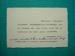 Faire-part Naissance Aliette CHARLES LAVAUZELLE 1928 - Paris - Nacimiento & Bautizo