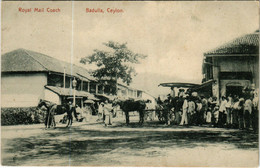 PC CPA SRI LANKA, CEYLON, ROYAL MAIL COACH, BADULLA, Vintage Postcard (b12805) - Sri Lanka (Ceilán)