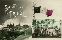 PC CPA LIBIA, TRIPOLI, ESERCIZIO MILITARA, TINTED REAL PHOTO Postcard (b16628) - Libya