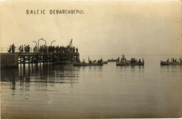 PC CPA ROMANIA, BULGARIA, BALCIC, DEBARCADERUL, REAL PHOTO POSTCARD (b14592) - Rumania