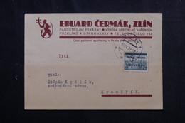 BOHÊME ET MORAVIE - Carte Commerciale De Zlin En 1939 Pour Kromeriz, Affranchissement Surchargé  - L 73413 - Covers & Documents