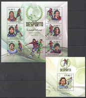 BC1360 2010 MOZAMBIQUE MOCAMBIQUE SPORT DESPORTO FOOTBALL LIONEL MESSI 1SH+1BL MNH - Otros