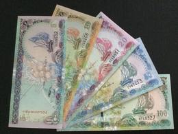 MALDIVES SET 5 10 20 50 100 RUFIYAA BANKNOTES 2000-2013 UNC - Maldiven