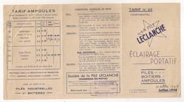 1948 LA PILE LECLANCHE  ECLAIRAGE PORTATIF PILES BOITIERS AMPOULES TARIF     C1333 - France
