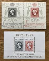 LUXEMBOURG 1952 - Mi 488 / 489 - YT 454A MH + Bloc 10 / BF 10 MNH - ANNIVERSAIRE TIMBRE POSTE - Blokken & Velletjes