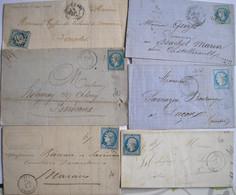 FRANCE - 6 Lettres De Charente Maritime De Différents Bureaux Avec Bleus - Cozes, Marans, Ars, Gémozac Et Rochefort - 1849-1876: Klassik