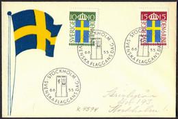 SVERIGE - FLAGS - FDC - 1955 - Briefe