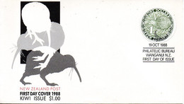 NOUVELLE-ZELANDE. N°1010 Sur Enveloppe 1er Jour De 1988. Kiwi. - Kiwi