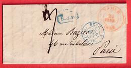 NAMUR BELGIQUE 1839 EN ROUGE CACHET ENTREE BELG 3 VALnes 3 POUR PARIS - 1830-1849 (Independent Belgium)