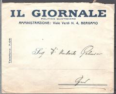 Italia Regno Busta Pubblicitaria Quotidiano Il Giornale Bergamo VF/F - Publicity