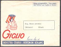 Italia Regno Busta Pubblicitaria Industria Ceraria Bertoncini Bergamo VF/F - Publicity