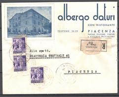 Italia Regno Busta Pubblicitaria Albergo Daturi Piacenza VF/F - Publicity