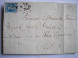 FRANCE - LAC De Pont-St-Vincent Du 21/04/1863 Pour Paris Avec Cachet OR De La Ferme De Ste Anne - 3 Photos - 1849-1876: Periodo Clásico