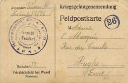 Kriegsgefangenendendung Feld Postkarte Maticule 54526 Baracke 32 Vers Rugles Eure Prisonnier De Guerre 1916 RV - Otros