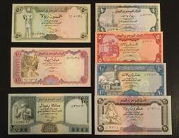 YEMEN SET 1 5 10 20 50 100 200 RIALS BANKNOTES UNC - Yemen