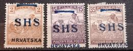 HARVESTERS-2-15-35 FIL-OVERPRINT SHS HRVATSKA - ERROR - RARE - YUGOSLAVIA - HUNGARY - CROATIA - 1918 - Croatia