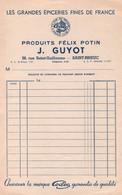 Facture - EPICERIE Produits Félix POTIN - J.GUYOT - St BRIEUC - Rue St Guillaume - France