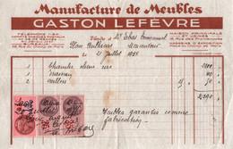 Facture - Manufacture De MEUBLES - Gaston LEFEVRE - St BRIEUC - Rue Du Champ De Mars - 1937 ( 2 Docs) - France