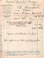 Facture - Comptoir Agricole De BRETAGNE - Ch. MARECHAL - St BRIEUC - Rue Du Champ De Mars - 1907 ( 2 Docs) - France