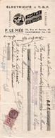 Lettre De Change - ELECTRICITE TSF - Ets P.LE MEE - St BRIEUC - Rue De Rennes - 1936 - France