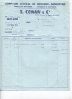 Facture - Comptoir De MERCERIE BONNETERIE - Ets J.CONAN & Cie - St BRIEUC - Rue Alsace-Lorraine - 1966 - France