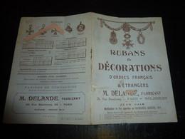 CATALOGUE LIVRET - RUBANS & DECORATIONS D'ORDRE FRANCAIS & ETRANGERS - M. DELANDE, Fabricant - Juin 1918 (DOC-B) - Frankreich