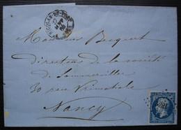 Saint-Nicolas-du-Port (Meurthe) 1860 Pc 3221 Sur N°14 Fabrique De Soude, Lettre Sans Correspondance Pour Nancy - 1849-1876: Classic Period